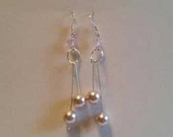"Pink ""Pearl"" Dangle Earrings"