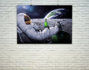 Astronaut having a beer on the moon, Vintage Map Style, Digital print
