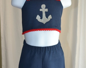 Navy and red anchor nautical halter and shorts set.