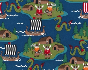 Michael Miller - Vikings - Turquoise - 100% Cotton Fabric by the Yard - You Choose the Cut