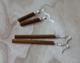 2 pairs of elegant hand crafted wooden earrings, for day and evening wear.