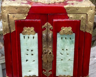 Antique Rosewood Red Lacquer White Jade Jewellery Box