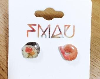 Sushi and tempura prawn handmade hypoallergenic jewelry jewellery gift idea girl cute fun mini food japanese