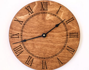roman numeral large wall clock brown clock walnut rustic clock modern clock