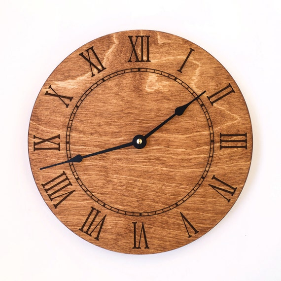 Roman numeral large wall clock brown clock walnut rustic - Large roman numeral wall clocks ...