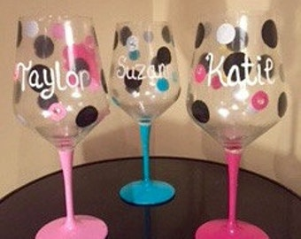 Hand-Painted Personalized Wine Glasses