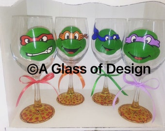TMNT glasses, hand painted glasses, gifts for him, 80s, wine glasses, turtles
