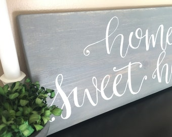 "Home Sweet Home - 18x7"" Wood Sign - Modern Farmhouse Decor - Home Decor- Rustic - Wall Hanging - Distressed Wood - Quote - Customizable Sign"