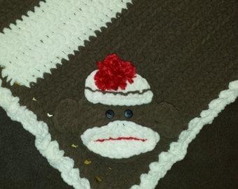 Crochet Chenille Baby Blanket Sock Monkey Custom