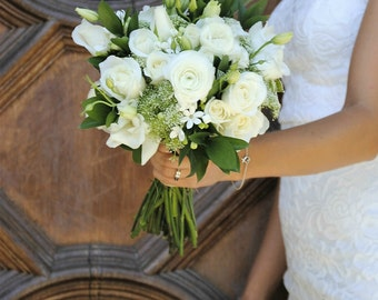 DIY Wedding Bouquet Package, Greenery, White Bouquet, Whimsical Wedding Flowers, White Wedding, White and green centerpieces