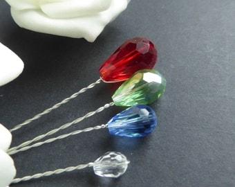 5 x Crystal Teardrops, Glass Crystal, sparkling jewels,