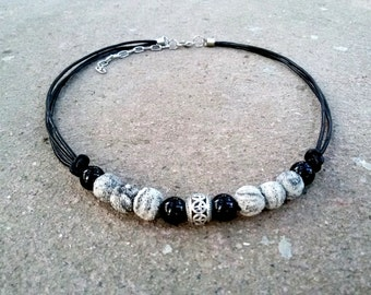 Men Hipster necklace Onyx lava jewelry Black White jewelry for men necklace for Teen Stone necklace Leather Hipster jewelry gift for Men