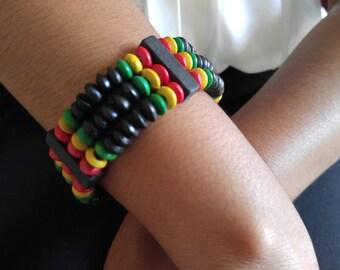 African bracelet, African Jewelry, African beads, colorful bracelet, Ethnic bracelet, Reggae colors, Wooden beads, African wooden beads