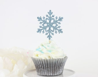 Glittery Snowflake Cupcake Topper (Set of 12) | Christmas Party Decor | Winter Wonderland | Snowflake Party | Birthday Party Decorations