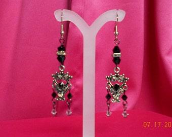 "Handmade dangle swarovski earrings 2.50""L"