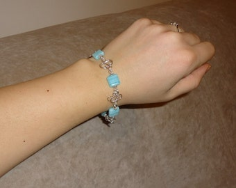 Light blue silvered bracelet