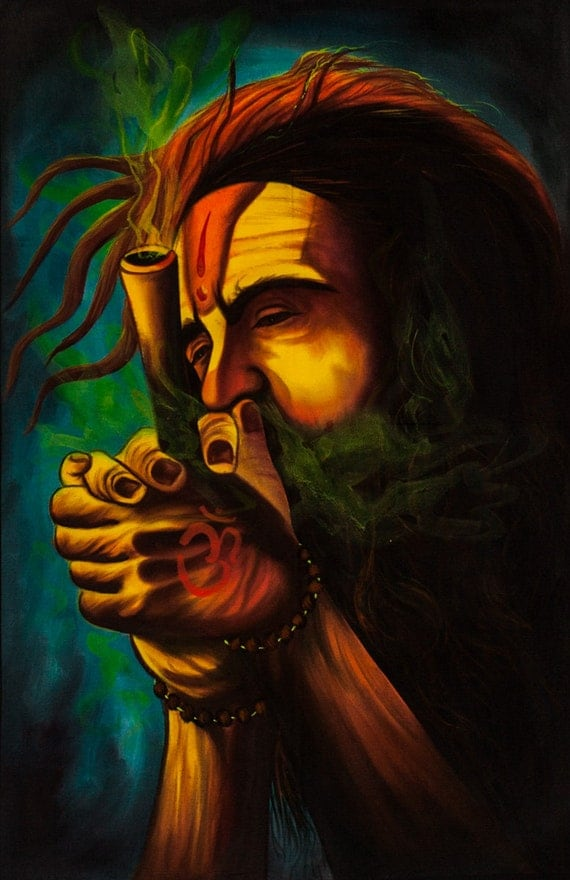 SMOKING SADHU Psychedelic Art Hand Painted by Psientistgifts