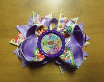 "Shopkins Handmade Boutique Layered Hair Bow 4.5"" Purple & Lavender Rainbow Color - Girls - Alligator Hair Clip"