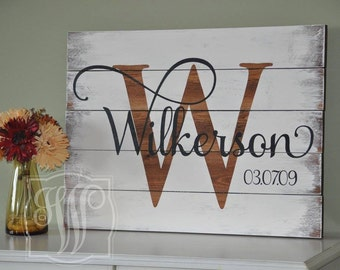 Family Establish Sign, Custom Wedding Gift, Pallet Last Name Wood Sign, Rustic Family Established Sign, Distressed Personalized Name Sign