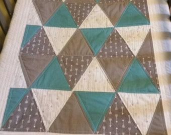 Modern Baby Bedding - Triangle Quilt - Grey and Teal Baby Quilt - Gender Neutral  Baby Bedding - Baby Blanket