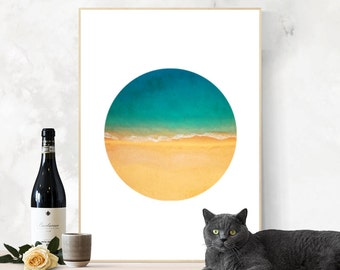 Beach Circle Photography, Printable Art, Digital Prints, Modern Wall Art, Nature Landscape Poster, Ocean Shore, Sea, Coast, Instant Download