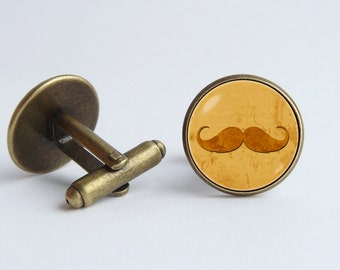 Mustache cufflinks Mustache jewelry Men cuff links Father gift Hipster cufflinks Menswear Black curly moustache Funny cuff links Party style