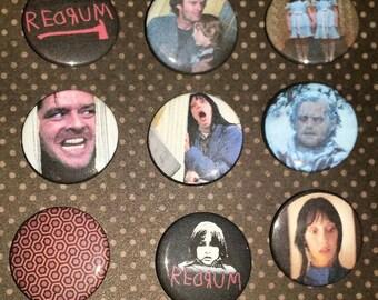 The Shining Redrum Jack Nicholson Button set of 9 pin backs