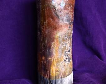 Raku Fired Geometric Vase