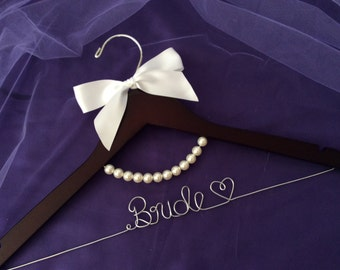 Grand Opening !!l-Personalized Bridal Hanger with pearl,Customized Hanger,Wedding Gift,Wedding Hanger, Bridal shower Gift, Bridemaids hanger