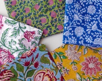 Beautiful handblock cotton printed scarf/pereo:sarongs full length assorted 10 different colours