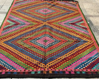 Bright And Colorful Neon Summer Floral Print Woven Rug Choose