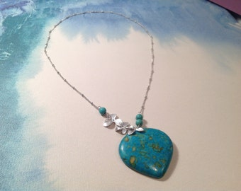 Triple Orchid Flower Necklace, Turquoise Necklace