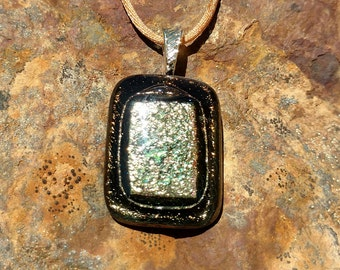 Dichroic Fused Glass Pendant, Black with Shimmering Golds, Handmade Necklace