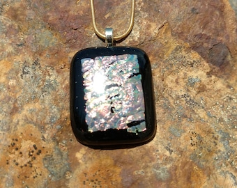 Dichroic Fused Glass Pendant, Black with Shimmering Golds and Reds, Handmade Necklace