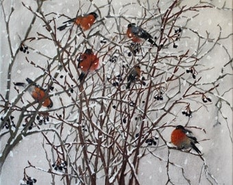 bullfinches on the branches of tree