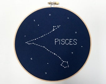 """PISCES 8"""" Glow-in-the-dark Zodiac Constellation Embroidery Hoop Art - Astrology Wall Hanging - Pisces wall decor - Pisces Birthday"""