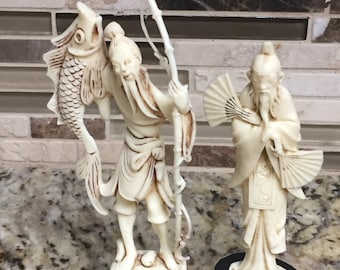 Vintage Depositato Fontanini Oriental People Plastic Figurines Lot of 2.Italy. VINTAGE UNIQUE RARE.Free Shipping
