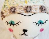 """Meet """"Paisley""""...Boho-Chic Bear doll with """"tattoos"""" and beaded headband. Handmade, ready to ship!"""