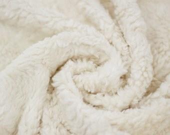 ORGANIC Plush Teddy Fabric - White Plush - UK Seller