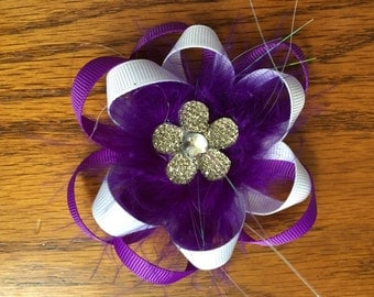 3 inch purple and white hair bow