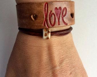 jewelry,bracelet,cuff,leather cuff, love, wide cuff, genuine leather cuff,