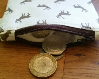 Coin purse in stag design, small purse, wallet