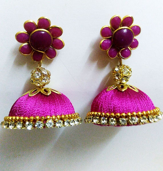 Items Similar To Handcrafted Silk Thread Earrings With