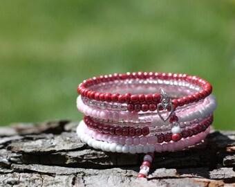 Ladies Bracelet, Eight Times Wrap Bracelet, Beaded Bracelet, Cuff Bracelet, Memory Wire, Pink and White, Bracelet, Jewellery