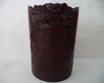 Chinese bamboo brush pot mahogany colour