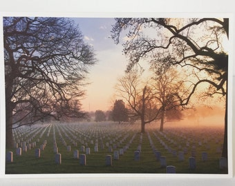 Photographic Greeting Card - Arlington National Cemetary at Dawn - In Memoriam