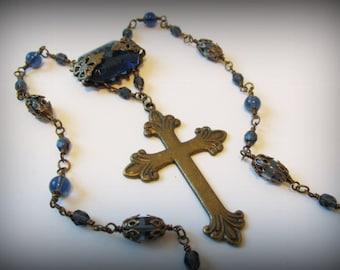 MERRYN Gothic Victorian Midnight Blue & Antique Brass Filigree Necklace