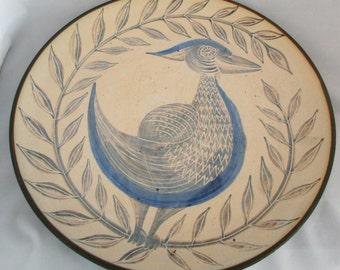 """Mid-Century Modern Sgraffito Scandinavian Studio Pottery Bird Platter / Wall Plaque, Signed Konradi, 14.5"""""""