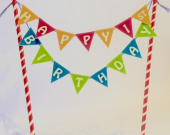 Happy Birthday Bunting Cake Topper, Age & colour of choice
