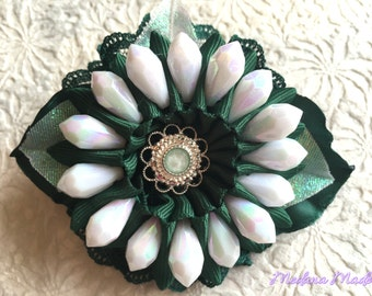 Flower Hair Tie with White Pearls